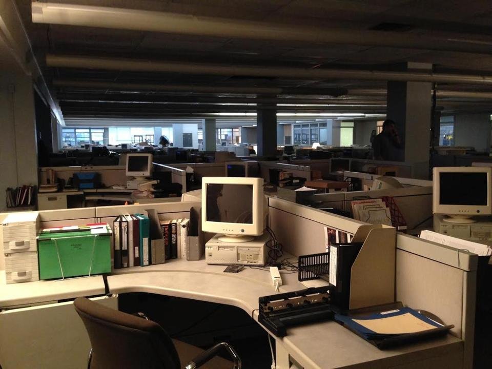 """Spotlight,"" a film based on the 2002 Boston Globe Spotlight Team Investigation: Abuse in the Catholic Church cast members and their Globe counterparts. Pictured: Boston Globe newsroom set."